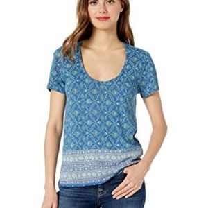NWT Lucky Brand Floral Print Border Casual Tee